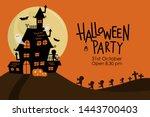 happy halloween greeting card... | Shutterstock .eps vector #1443700403