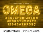 neon light 3d alphabet  extra... | Shutterstock .eps vector #1443717326