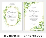 wedding invitation with green... | Shutterstock .eps vector #1443758993