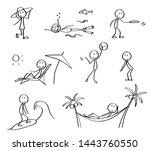 set of summer vacation stick... | Shutterstock .eps vector #1443760550