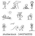 set of summer vacation stick... | Shutterstock .eps vector #1443760553