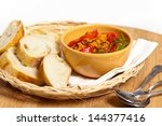 roasted yellow and red bell... | Shutterstock . vector #144377416