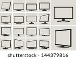 tv and monitor web vector icons ... | Shutterstock .eps vector #144379816