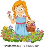 illustration of little kid girl ... | Shutterstock .eps vector #144380404