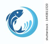 fish logo template. fish with...   Shutterstock .eps vector #1443811520
