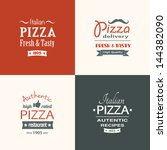 set of premium quality pizza... | Shutterstock .eps vector #144382090