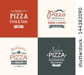 set of premium quality pizza... | Shutterstock .eps vector #144382090