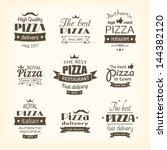 set of premium quality pizza... | Shutterstock .eps vector #144382120