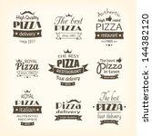 set of premium quality pizza... | Shutterstock .eps vector #144382120