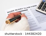 filling up a work injury claim... | Shutterstock . vector #144382420
