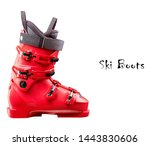 Red Ski Boots Isolated On Whit...