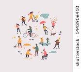 autumn or fall season people...   Shutterstock .eps vector #1443906410