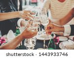 hands toasting with champagne... | Shutterstock . vector #1443933746