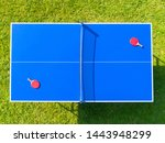 Aerial View Blue Table Tennis...