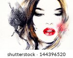 woman face. hand painted... | Shutterstock . vector #144396520