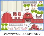 cut and glue the paper a farm.... | Shutterstock .eps vector #1443987329