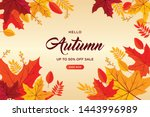 autumn background with flat... | Shutterstock .eps vector #1443996989