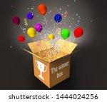 winner box with confetti and... | Shutterstock . vector #1444024256