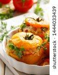 stuffed tomatoes  baked yellow...   Shutterstock . vector #1444033439