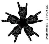 five rock hands abstract symbol ... | Shutterstock .eps vector #144405133