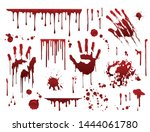 Dripping blood. Halloween bloody splatter spots and bleeding hand traces.  Collection various  red paint splatter, isolated on white background. - stock vector