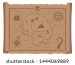pirate treasure map vector... | Shutterstock .eps vector #1444069889