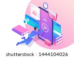 isometric concept man studying... | Shutterstock .eps vector #1444104026