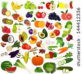 set fruits and vegies | Shutterstock .eps vector #144412336