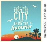 retro vintage summer poster... | Shutterstock .eps vector #144413350