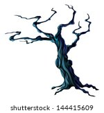 An illustration of a bare spooky scary Halloween tree