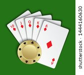 a royal flush of diamonds with... | Shutterstock .eps vector #1444160630