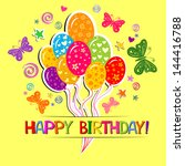 happy birthday card.... | Shutterstock .eps vector #144416788