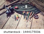fishing rod  reel  floats and... | Shutterstock . vector #1444175036