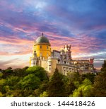 fairy palace against sunset sky ... | Shutterstock . vector #144418426