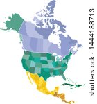 map of north america with... | Shutterstock .eps vector #1444188713