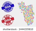 bundle goa state map and blue...   Shutterstock .eps vector #1444235810