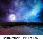 night road background with moon ... | Shutterstock . vector #1444251563