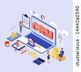 crm software isometric vector... | Shutterstock .eps vector #1444260590