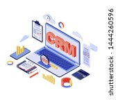crm system isometric vector... | Shutterstock .eps vector #1444260596
