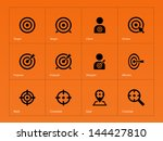 Target icons on orange background. Vector illustration.