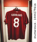 Small photo of Anfield, Liverpool / England - July 7th 2018: Steven Gerrard Liverpool Football Kit In Dressing Room 6K Image