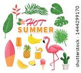 summer icons set  drinks  palm... | Shutterstock .eps vector #1444299170