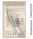 cinema ticket bent and ripped... | Shutterstock .eps vector #144431929