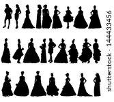 women silhouettes in various... | Shutterstock . vector #144433456