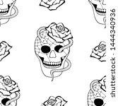 vector black and white hand... | Shutterstock .eps vector #1444340936