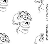 vector black and white hand... | Shutterstock .eps vector #1444340939
