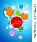 colorful circles on blue... | Shutterstock .eps vector #144436984