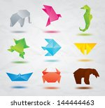 set of color origami animals...   Shutterstock .eps vector #144444463