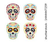 set of mexican sugar skull with ... | Shutterstock .eps vector #1444447259