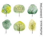 set of watercolor trees. hand...   Shutterstock . vector #1444447346
